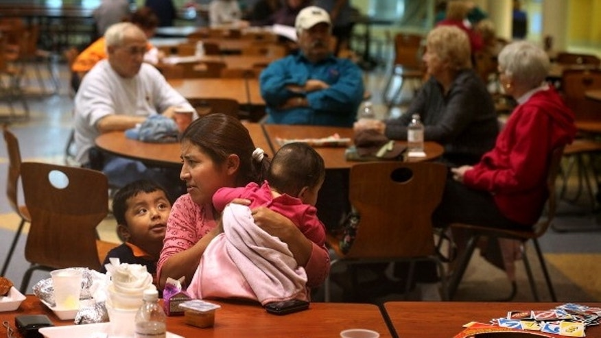 Local residents take shelter in Delaware as Hurricane Sandy approaches.