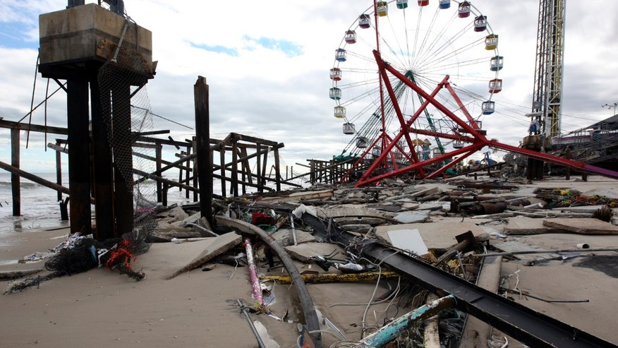 The Fun Town Pier in Seaside Heights has been heavily damaged by superstorm Sandy. Wednesday, Oct. 31, 2012. (Photo by David Gard/The Star-Ledger, POOL)