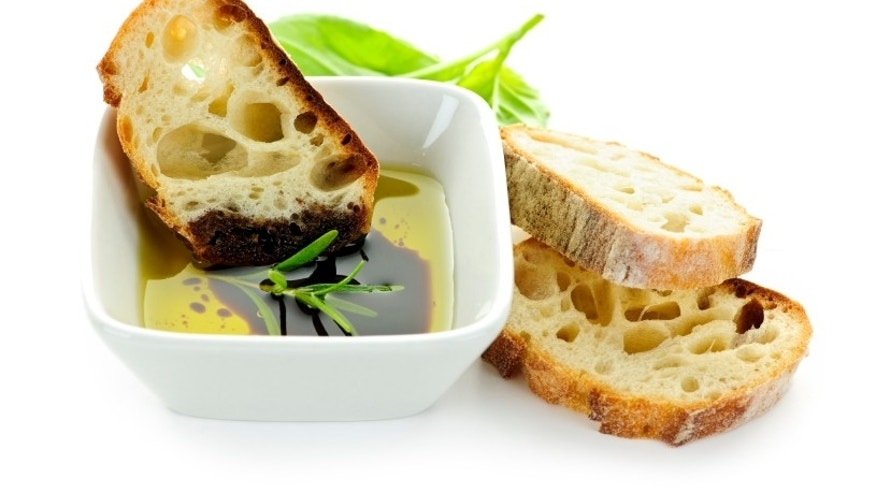 Italian food appetizer of bread olive oil and balsamic vinegar