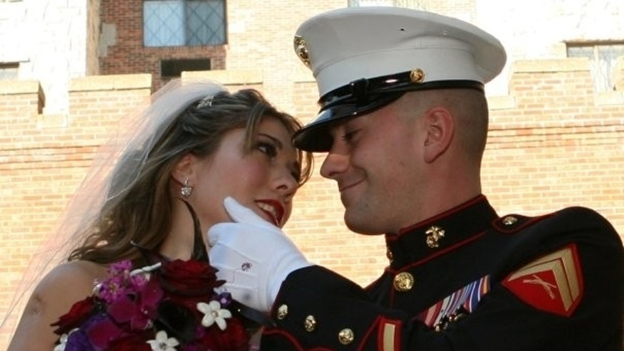 Tiffanie and her husband, Lance Corporal Eric A. Gabrielse, on their wedding day (Photos courtesy of Tiffanie DiDonato)