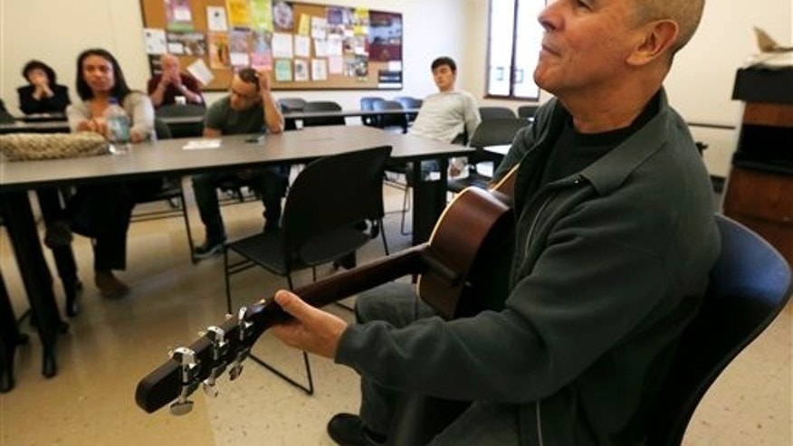 Musician Julio Fernandez during a session at Montclair State University, New Jersey.