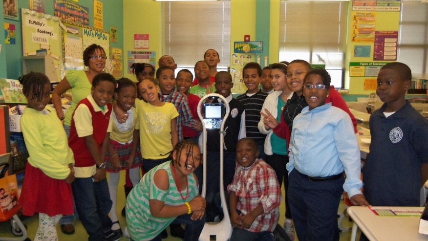 A classroom in New Jersey (not Devon's) enjoys the presence of VGo, a telepresence robot to solve a variety of classroom challenges, including helping a homebound student stay involved with his teachers and peers while recovering from medical treatments.