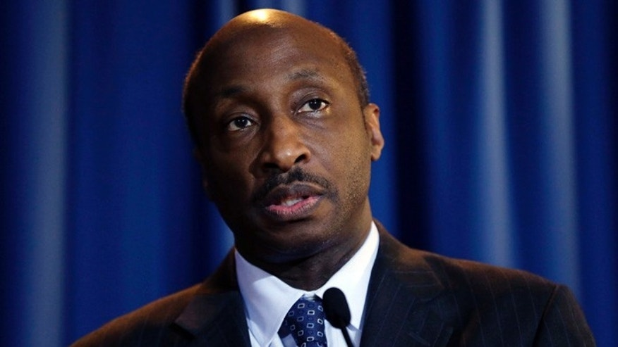 Merck CEO Kenneth Frazier speaks at a news conference after a meeting at Penn State University's Worthington Scranton campus in Dunmore, Pa.