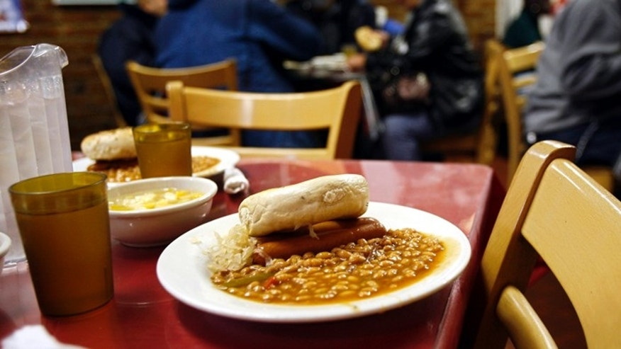 A lunch meal portion waits at the Part of the Solution (POTS) soup kitchen and food pantry in the Bronx borough of New York.
