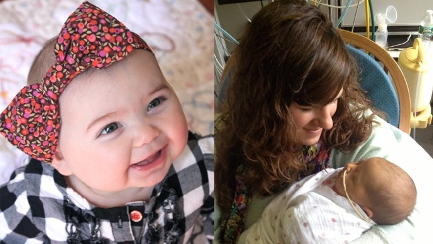 Matilda on her 7 month birthday (L), and Matilda with her mother Kelly Smith after her transplant (R).