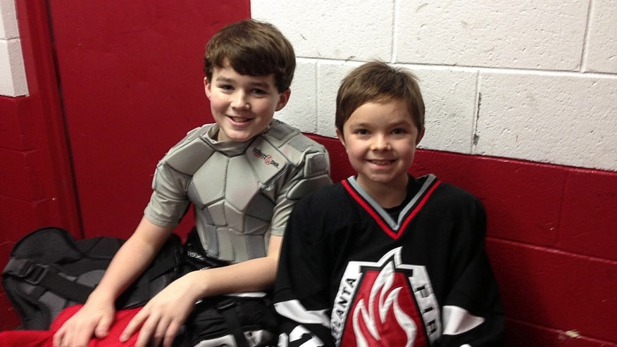 Connor and Reece when Reece visited the Alpharetta Family Skate Center