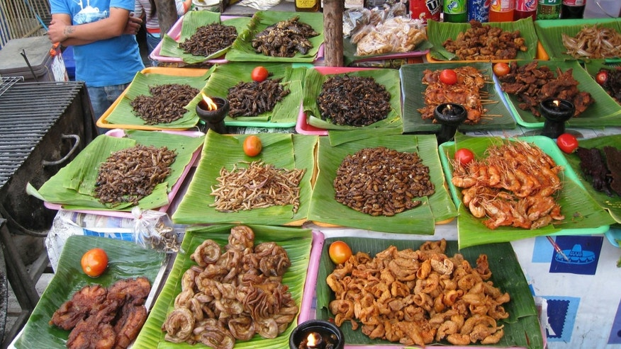 Insects for sale at a market in Chiang Mai, Thailand.