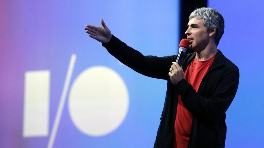 Larry Page, Google's co-founder and chief executive, speaks during the keynote presentation at Google I/O 2013 in San Francisco, Wednesday, May 15, 2013. (AP Photo/Jeff Chiu)