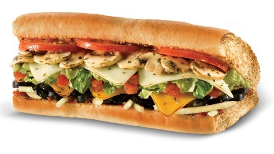 Quizno's veggie sub on wheat.