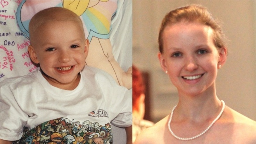 Ansley Riedel undergoing cancer treatment as a child (L) and as an adult now (R).