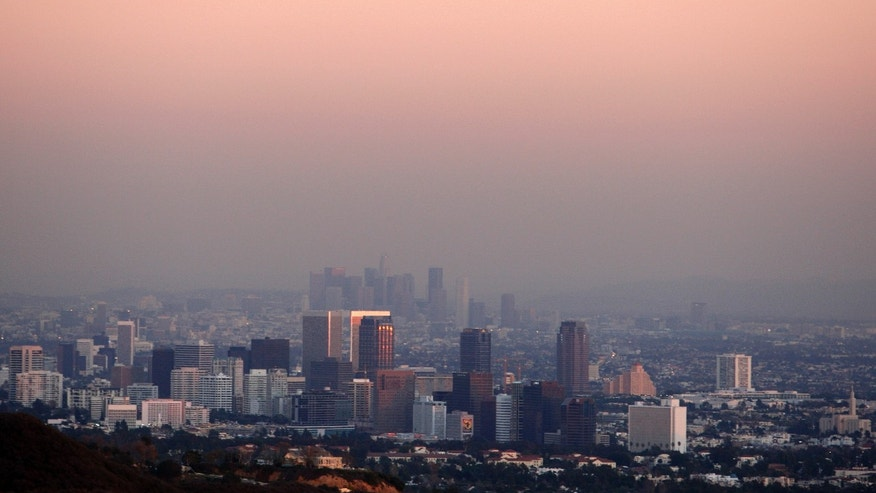 Century City and downtown Los Angeles are seen through the smog.