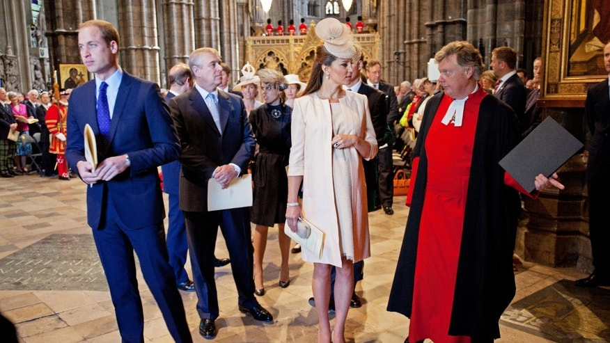 Britain's Prince William (L), Prince Andrew (2nd L) and Catherine, Duchess of Cambridge (3rd L) arrive for a service celebrating the 60th anniversary of Queen Elizabeth's coronation at Westminster Abbey in London June 4, 2013.