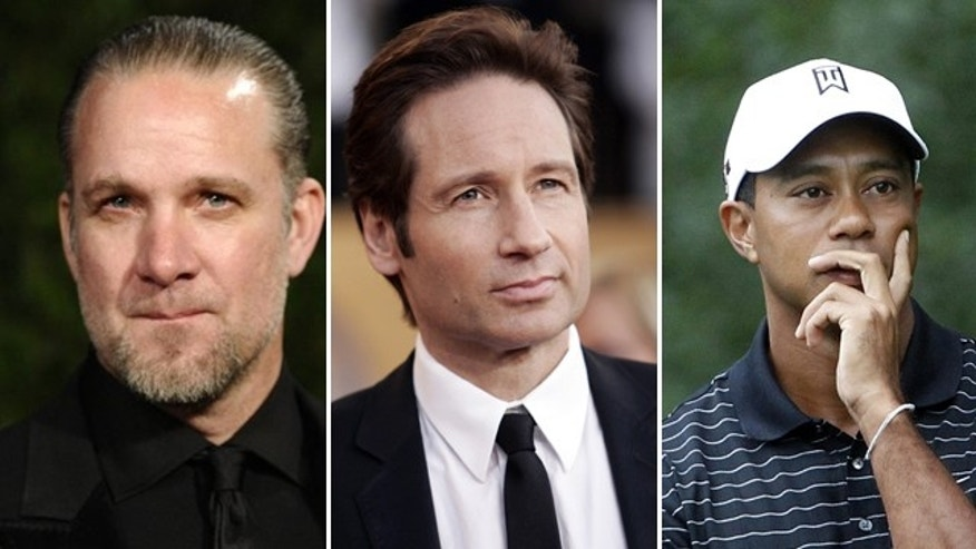 Jesse James (left), David Duchovny (center) and Tiger Woods (right) all reportedly received treatment for sex addiction.