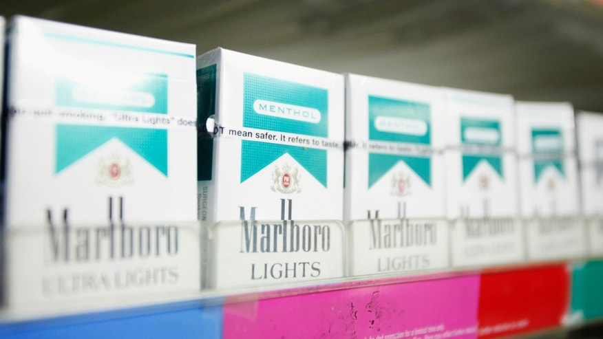 Menthol flavored cigarettes are displayed in a store in New York.