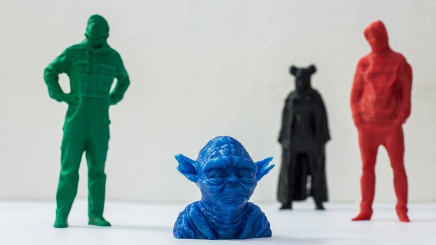 A picture shows figures that were created by means of 3D printing in Berlin.
