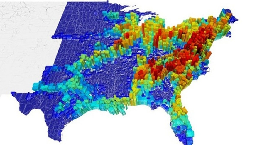 The price of anarchy, two weeks after an epidemic starts from each county in the East Coast of the United States. The price of anarchy measures the difference in spread of a disease between selfish (uncoordinated) and policy-driven (coordinated).