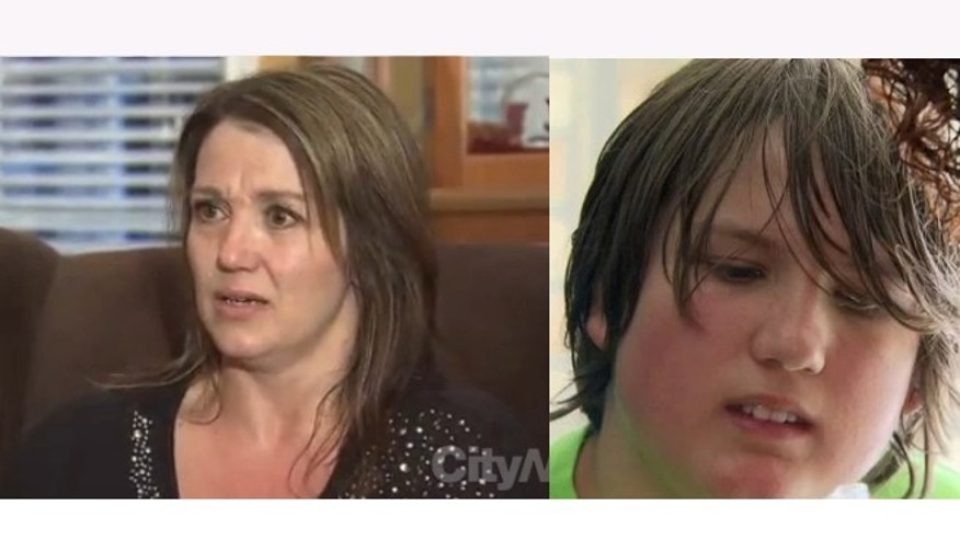 Karla Begley, left, and her autistic son Max, right. Images courtesy of www.citynews.ca.