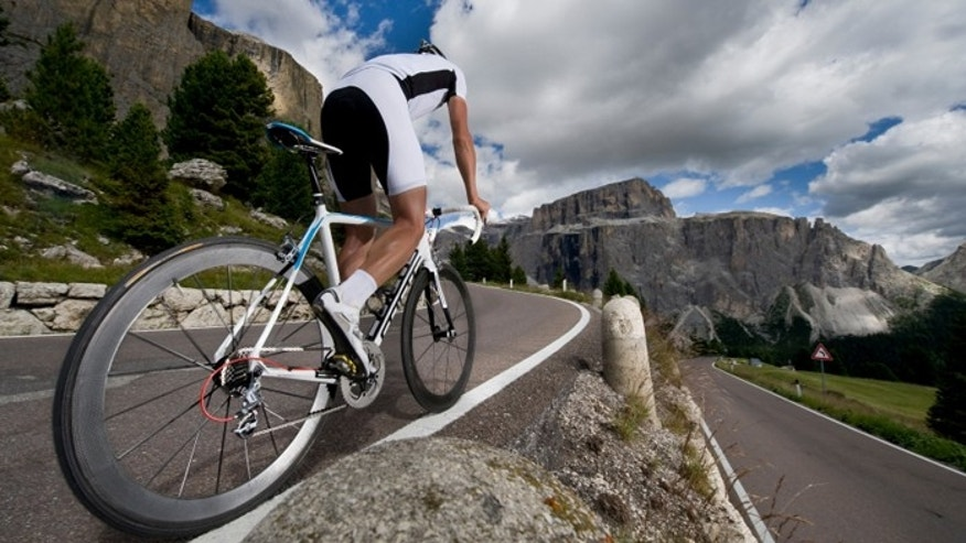 Road cyclists enjoy the mountain passes in the Dolomites