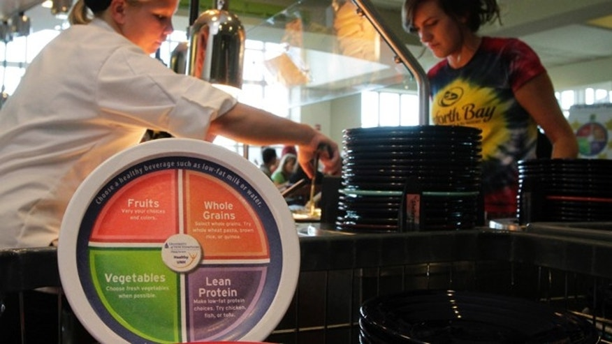 In this photo taken Wednesday Sept. 11, 2013 a new designed plate is propped up at the dining hall at the University of New Hampshire in Durham, N.H. The plates are printed with dietary guidelines in hopes students will choose healthier foods.(AP Photo/Jim Cole)