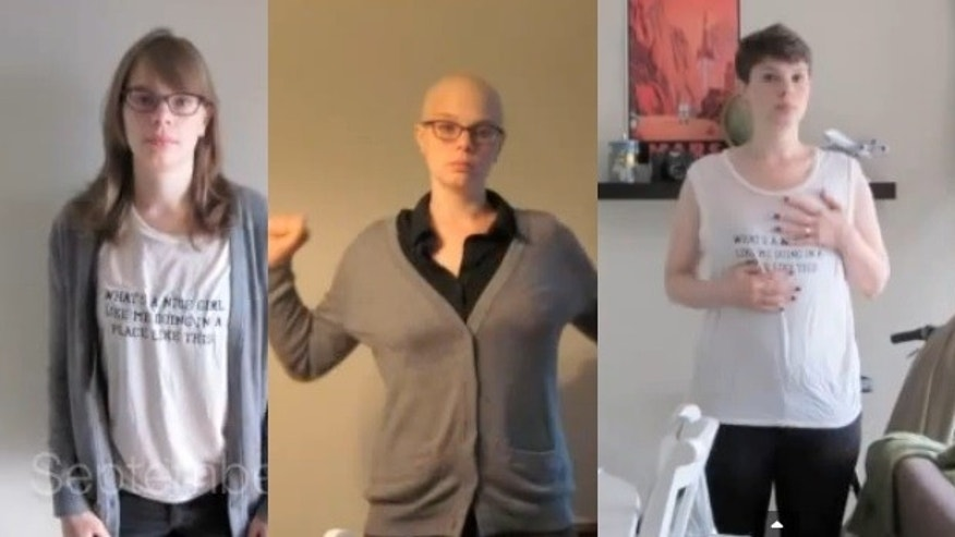 Emily Helck, shown here, chronicled her battle with breast cancer in a YouTube video that has now gone viral.