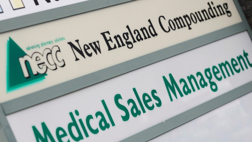 A sign for pharmaceutical compounding company New England Compounding Center (NECC), a producer of the steroid methylprednisolone acetate, is seen in Framingham, Massachusetts. The drug has been linked to a 2012 outbreak of a rare form of meningitis.