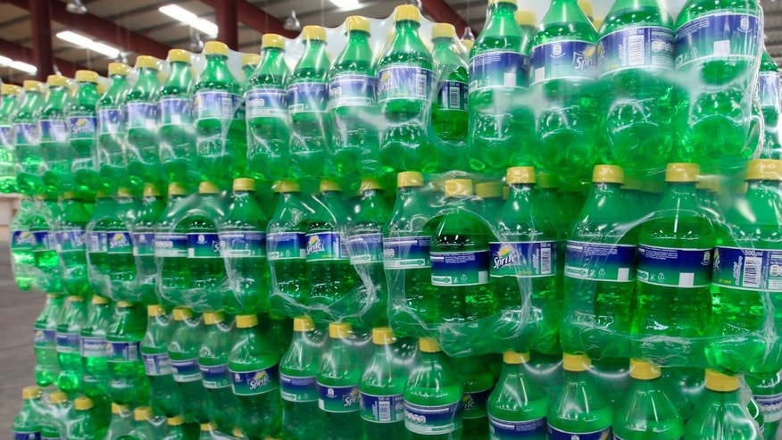 Plastic bottles of soft drink Sprite are seen in a dispatch area within the Coca Cola facility in Hargeisa.