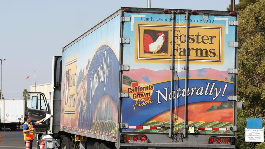 A truck enters the Foster Farms processing plant on Thursday, Oct. 10, 2013, in Livingston, Calif. The plant is one of three California poultry processing plants linked to a salmonella outbreak that has sickened 278 people across the country.