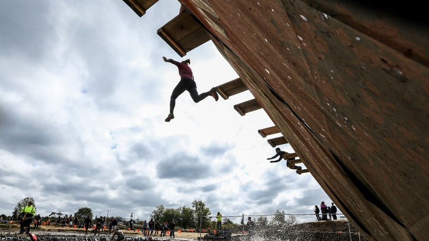 Athletes participating in last weekend's Tri-State Tough Mudder at Raceway Park in New Jersey.