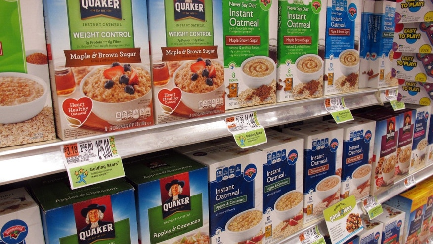 Hannaford stores feature the company's Guiding Stars rating system, as shown on price tags in the cereal aisle at a South Portland, Maine, store.
