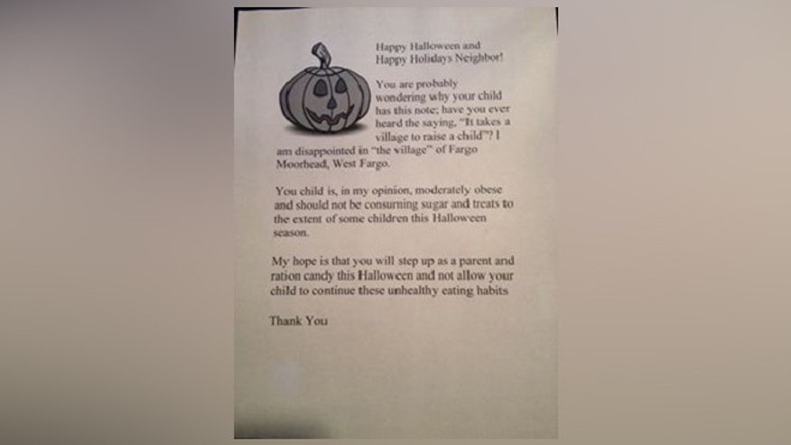 A North Dakota woman plans to hand out this letter to overweight children instead of giving them candy.