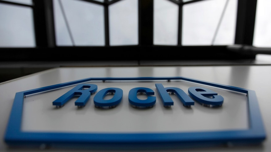 The logo of the Swiss drugmaker Roche is seen on a factory in Burgdorf near Bern, Switzerland.