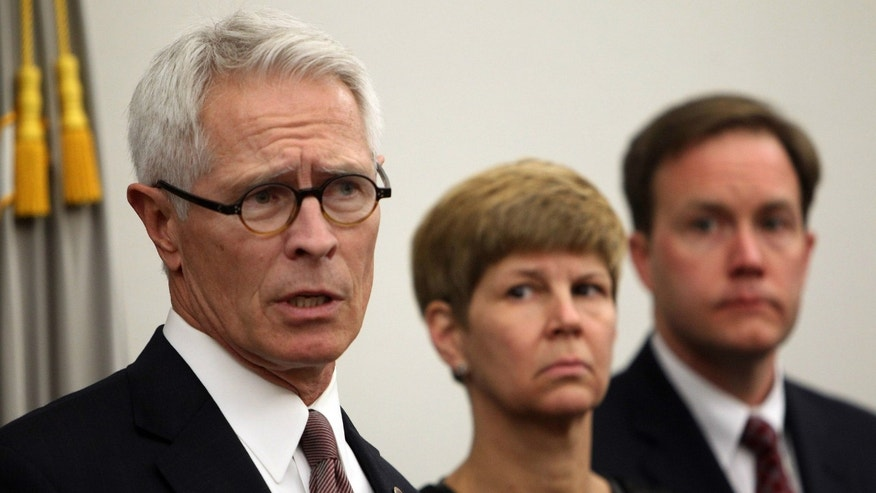 Barry Grissom, U.S. Attorney for the District of Kansas speaks at the U.S. District Court in Concord, N.HJ. after the sentencing of medical technician David Kwiatkowski. Kwiatkowski was sentenced to 39 years in prison for stealing painkillers and infecting dozens of patients in four states, including Kansas, with hepatitis C through tainted syringes.