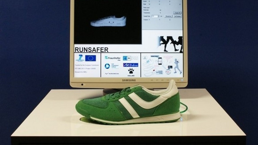Wired model of a running shoe with built-in sensors.