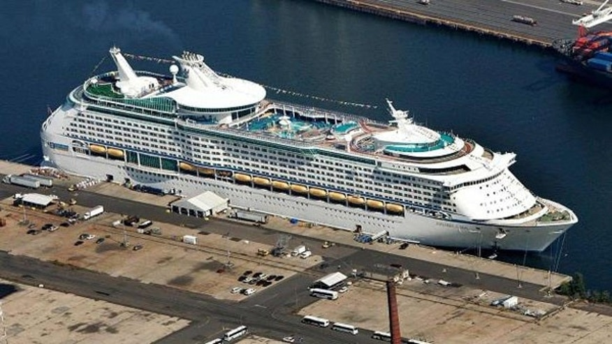 September 11, 2008: One of Royal Caribbean International's superliner cruise ships, Explorer of the Seas sits at Cape Liberty Cruise Port, the old Military Ocean Terminal in Bayonne, N.J. (AP/File)