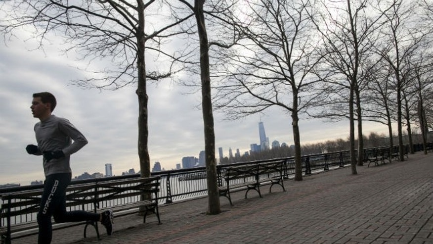 A man jogs along the waterfront in Hoboken, New Jersey January 19, 2014. (REUTERS/Eric Thayer)