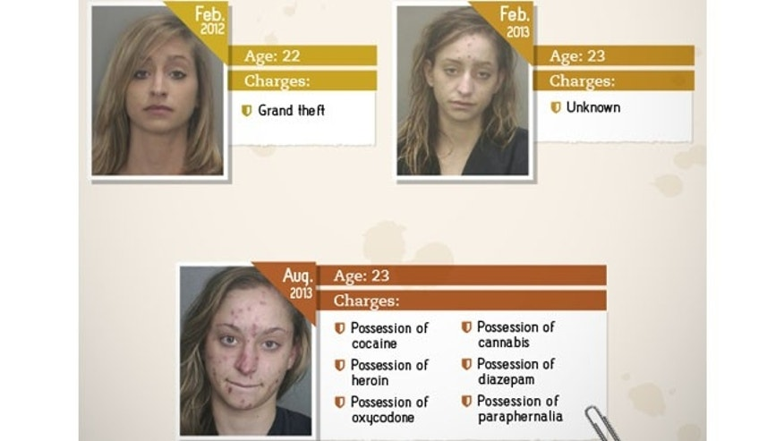 Chelsea, 24, was most recently arrested for possession of cocaine, heroine and oxycodone, among other drugs. (Images courtesy of Rehabs.com)