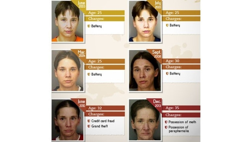 These mug shots depict Amy, who was arrested six times between 2003 and 2013 (Images courtesy of rehabs.com).