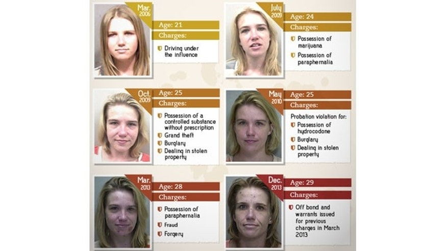 Cynthia's mug shots show a noticeable decline in physical appearance between her first arrest, at age 21, and her most recent arrest at age 29. (Images courtesy of Rehabs.com)