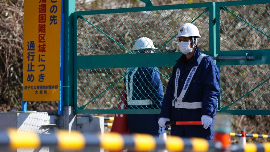 Security personnel stand guard near a steel gate in Fukushima prefecture April 1, 2014. For the first time since the nuclear disaster more than three years ago, residents of a small district 20 km (12 miles) from the wrecked plant are allowed to return home. (REUTERS/Issei Kato)