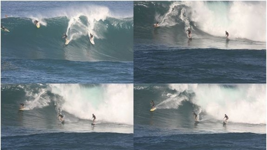 The surfer (top left, on yellow and red board) overbalancing while riding a roughly 30-foot (10 meters) wave at Waimea Bay. He momentarily dipped his face into the water while travelling at top speed, and recovered his balance and continued surfing the wave.