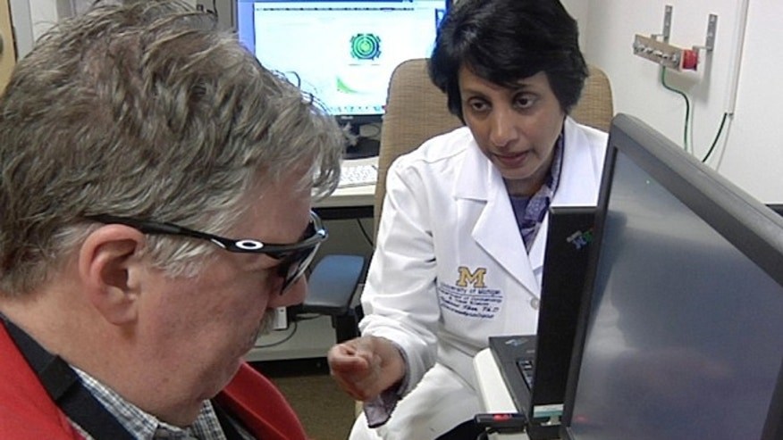 In this April 16, 2014 image from video Dr. Naheed Khan, right, works with Roger Pontz, left, on an exercise to test how well he sees shapes on a computer screen at the University of Michigan Kellogg Eye Center, April 16, 2014, in Ann Arbor, Mich. Pontz suffers from a degenerative eye disease called retinitis pigmentosa and is the second patient in the U.S. to surgically receive a bionic eye since the U.S. Food and Drug Administration signed off on its use last year. (AP Photo, Mike Householder)