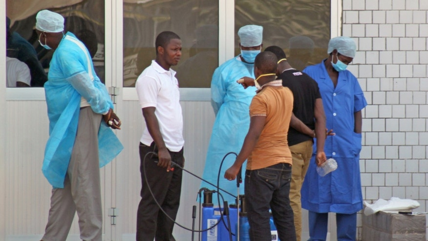 Medical personnel at the emergency entrance of a hospital wait to receive suspected Ebola virus patients in Conakry, Guinea. (AP Photo/Youssouf Bah)