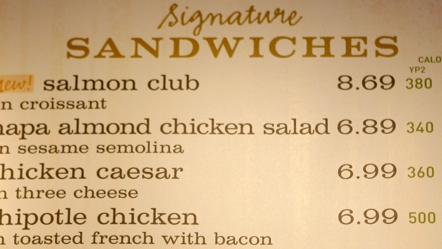 The sandwich board at a Panera store with the calorie count for each item, in Brookline, Mass. (AP Photo/Charles Krupa, File)