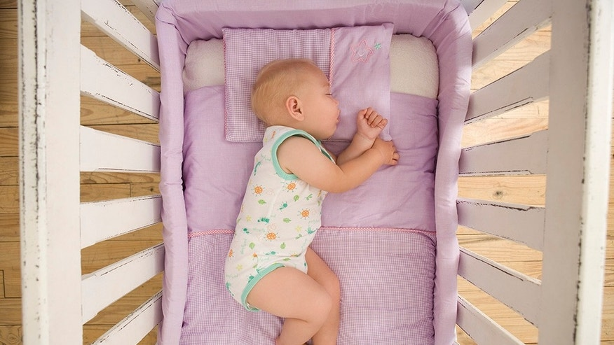 High angle view of sleeping baby