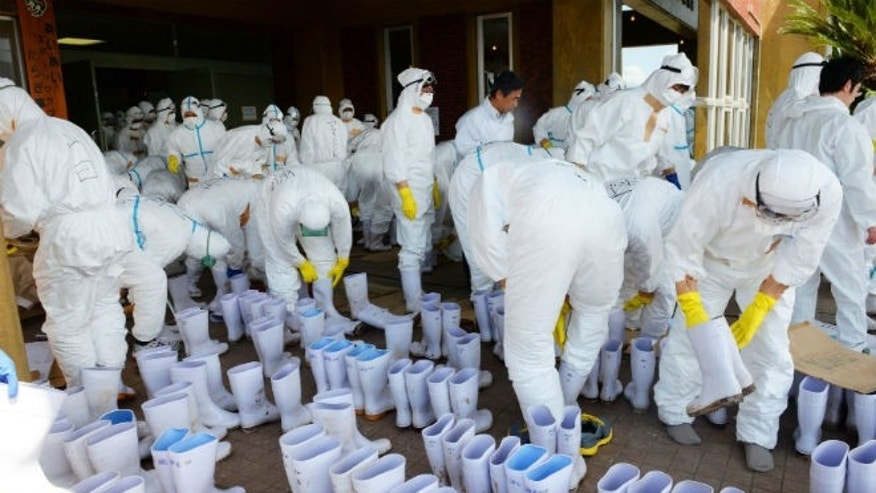 Prefectural government employees wearing protective suits put on boots to cull chickens in Taragi town, Kumamoto prefecture, in this photo taken April 14, 2014. (REUTERS/Kyodo)