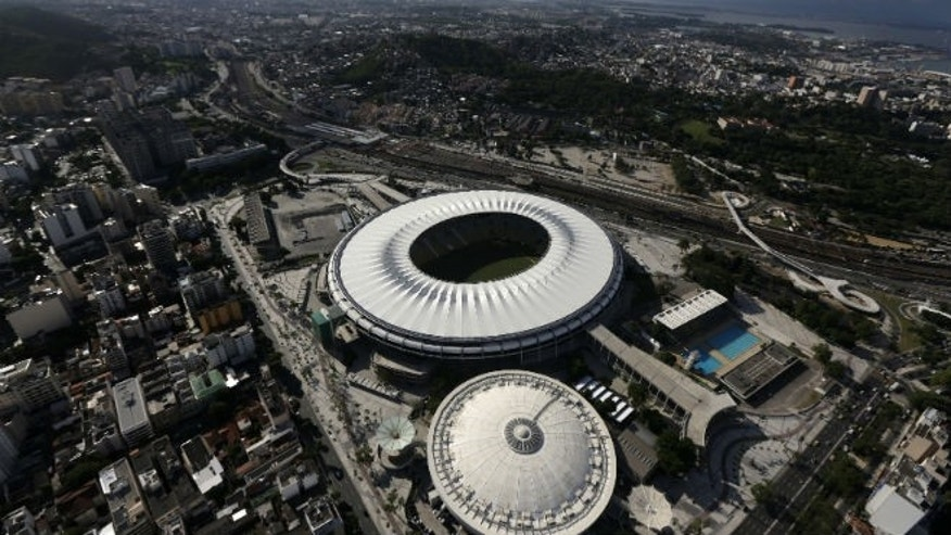An aerial shot shows the Maracana stadium, one of the stadiums hosting the 2014 World Cup soccer matches, in Rio de Janeiro. (REUTERS/Ricardo Moraes)