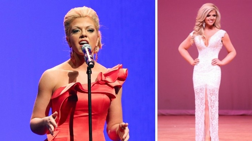 Keli Kryfko competing in the Miss South Texas talent competition (L) and evening gown competition (R).
