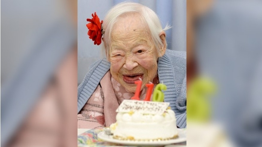 Misao Okawa, the world's oldest woman, celebrates her 116th birthday in Japan on March 5, 2014. (REUTERS/Kyodo)