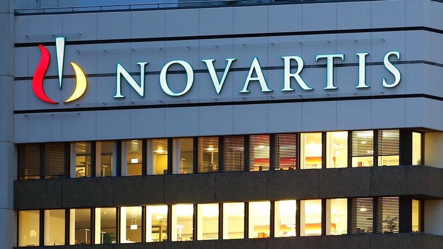 The logo of Swiss drugmaker Novartis is seen at its headquarters in Basel on Oct. 22, 2013.