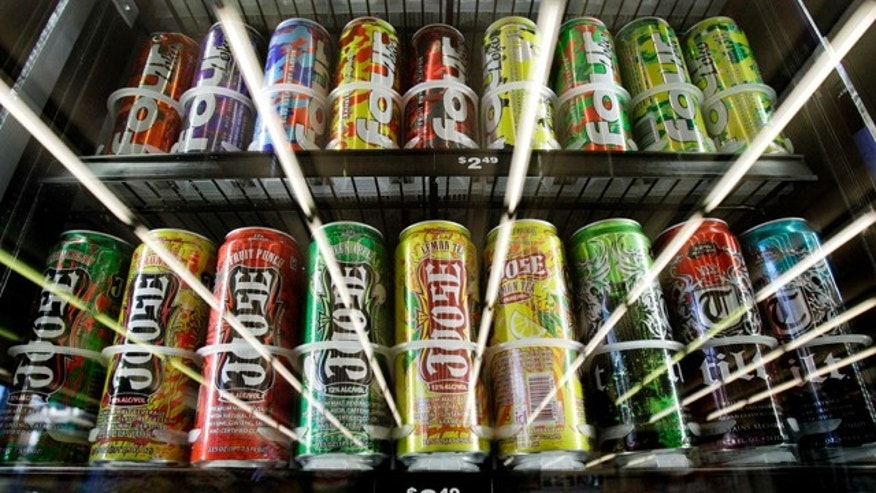 Nov. 10: Alcoholic energy drinks are seen in a cooler at a convenience store in Seattle.